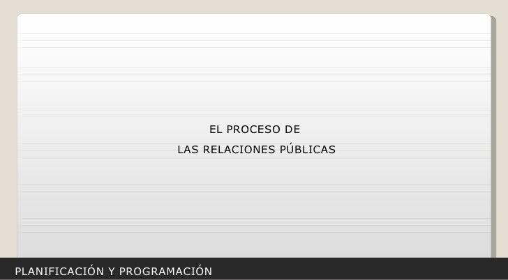 PLANIFICACIÓN Y PROGRAMACIÓN EL PROCESO DE  LAS RELACIONES PÚBLICAS