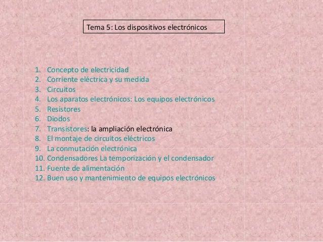 1. Concepto de electricidad 2. Corriente eléctrica y su medida 3. Circuitos 4. Los aparatos electrónicos: Los equipos elec...
