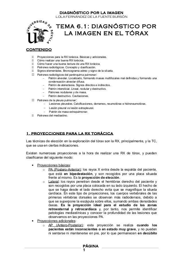 DIAGNÓSTICO POR LA IMAGEN LOLA FERNÁNDEZ DE LA FUENTE BURSÓN TEMA 6.1: DIAGNÓSTICO POR LA IMAGEN EN EL TÓRAX CONTENIDO 11 ...