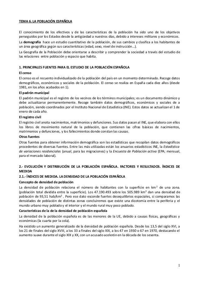 TEMA 6. LA POBLACIÓN ESPAÑOLAEl conocimiento de los efectivos y de las características de la población ha sido uno de los ...