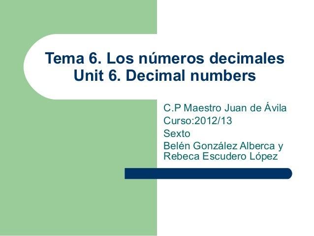 Tema 6. Los números decimales   Unit 6. Decimal numbers              C.P Maestro Juan de Ávila              Curso:2012/13 ...