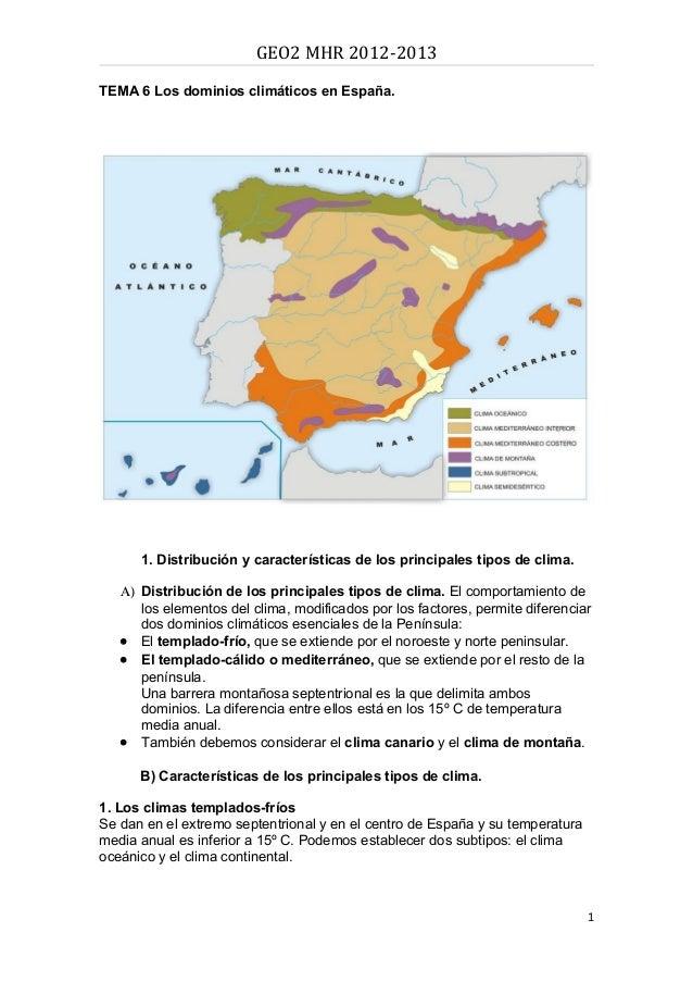 GEO2 MHR 2012-2013TEMA 6 Los dominios climáticos en España.      1. Distribución y características de los principales tipo...