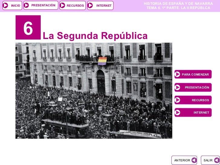6 La Segunda República PARA COMENZAR PRESENTACIÓN RECURSOS INTERNET