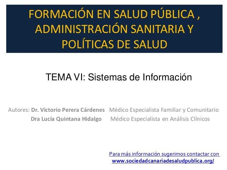 Sistemas de información, tema 6 del curso de formación en Salud Pública