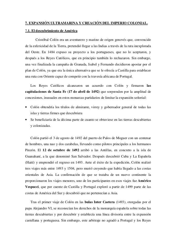7. EXPANSIÓN ULTRAMARINA Y CREACIÓN DEL IMPERIO COLONIAL.7.1. El descubrimiento de América       Cristóbal Colón era un av...