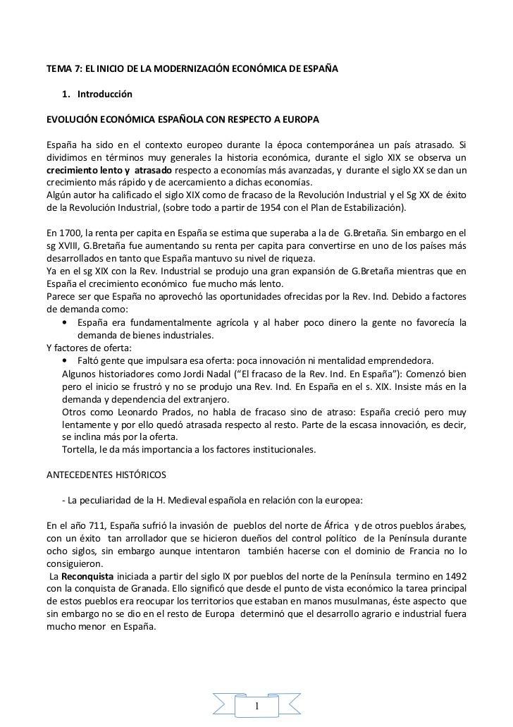 TEMA 7: EL INICIO DE LA MODERNIZACIÓN ECONÓMICA DE ESPAÑA   1. IntroducciónEVOLUCIÓN ECONÓMICA ESPAÑOLA CON RESPECTO A EUR...