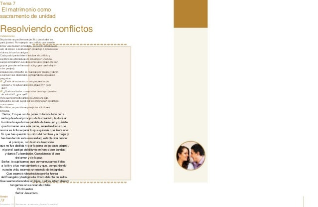 Tema 7 El matrimonio como sacramento de unidad Nos conocemos Resolviendo conflictos Indicaciones Se plantea un problema es...