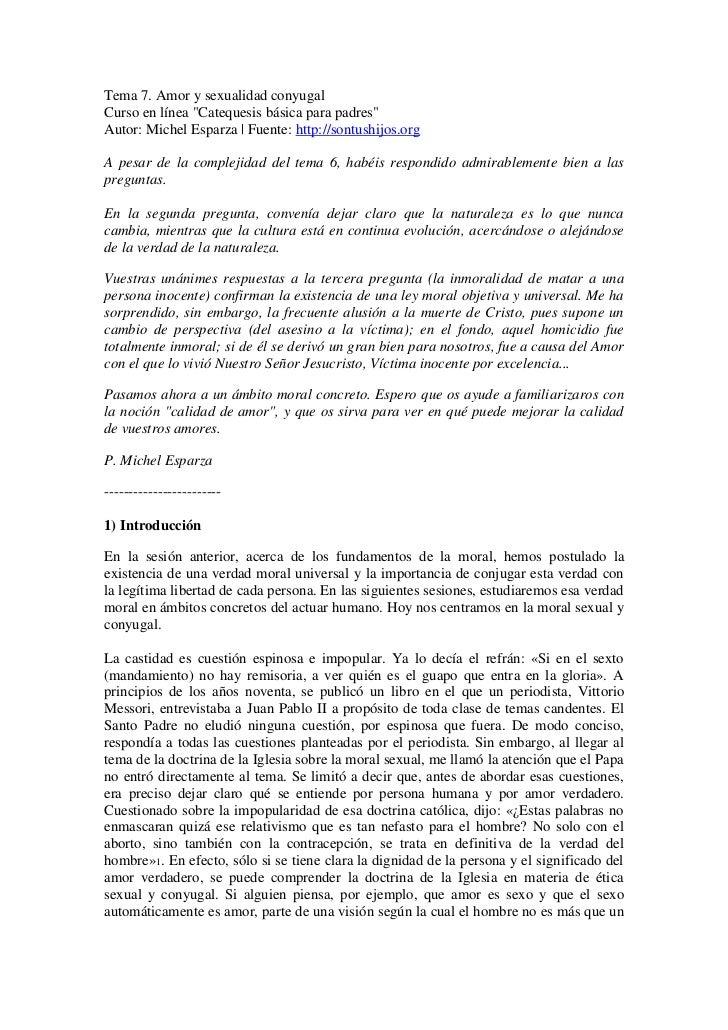 Tema 7. amor y sexualidad conyugal