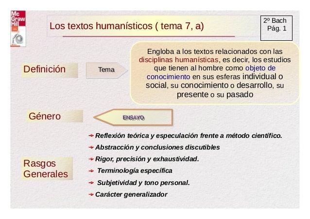 Los textos humanísticos ( tema 7, a)Los textos humanísticos ( tema 7, a) 2º Bach Pág. 1 Definición TemaTema Engloba a los ...