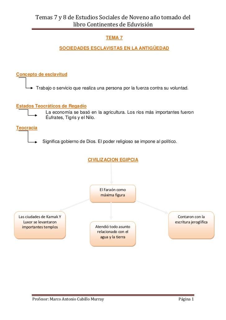 Temas 7 y 8 de Estudios Sociales de Noveno año tomado del                        libro Continentes de Eduvisión           ...