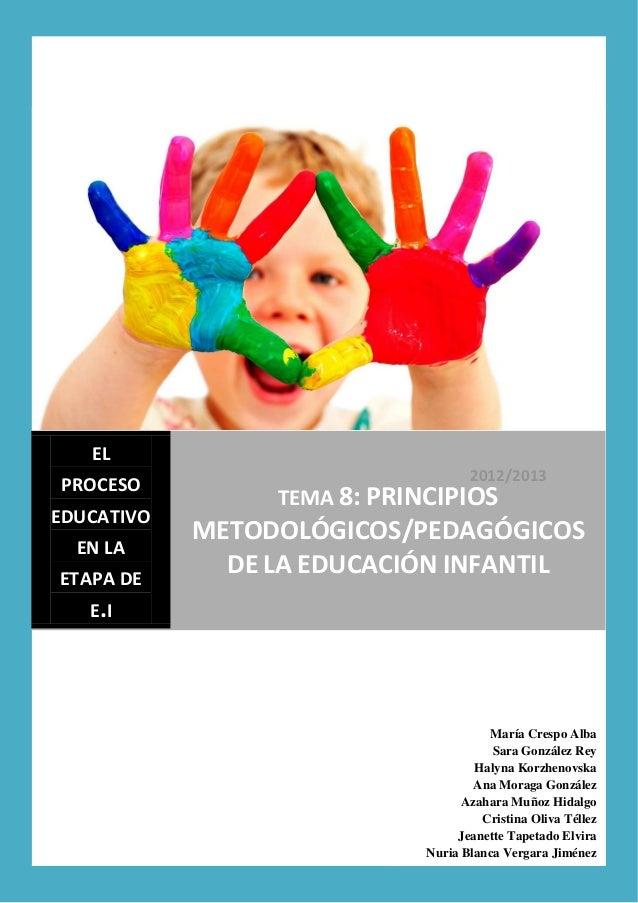 2012/2013ELPROCESOEDUCATIVOEN LAETAPA DEE.ITEMA 8: PRINCIPIOSMETODOLÓGICOS/PEDAGÓGICOSDE LA EDUCACIÓN INFANTILMaría Crespo...