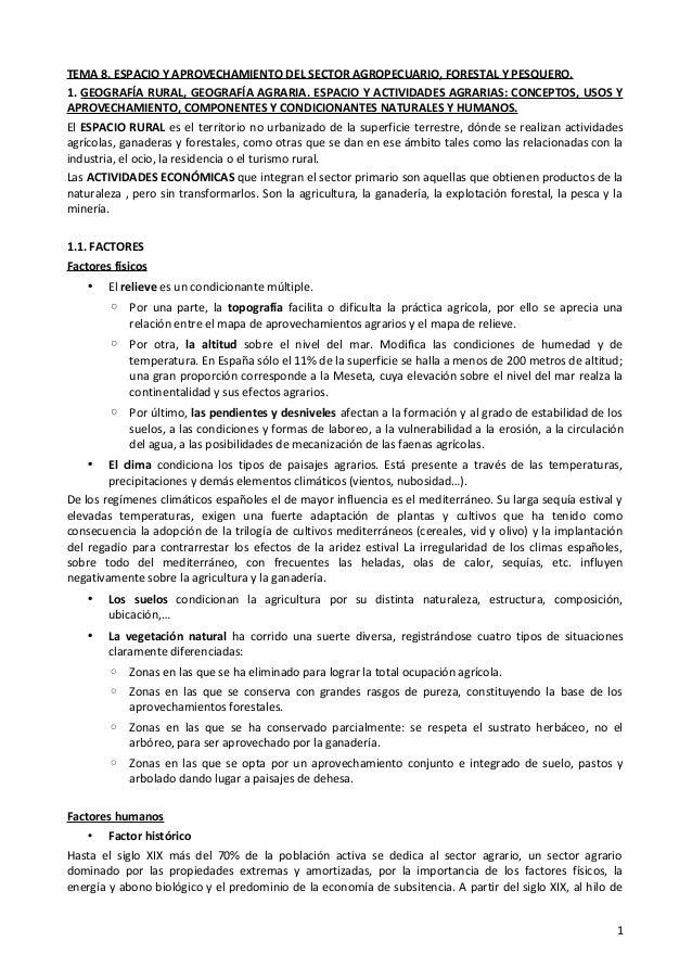 TEMA 8. ESPACIO Y APROVECHAMIENTO DEL SECTOR AGROPECUARIO, FORESTAL Y PESQUERO.1. GEOGRAFÍA RURAL, GEOGRAFÍA AGRARIA. ESPA...