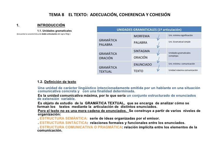 TEMA 8  EL TEXTO:  ADECUACIÓN, COHERENCIA Y COHESIÓN <ul><li>INTRODUCCIÓN </li></ul><ul><li>1.1. Unidades gramaticales </l...