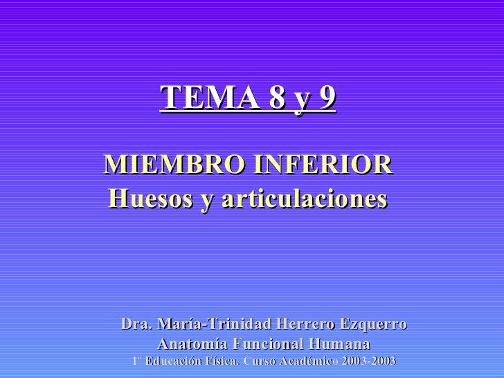 TEMA 8 y 9 MIEMBRO INFERIOR Huesos y articulaciones Dra. María-Trinidad Herrero Ezquerro Anatomía Funcional Humana 1º Educ...