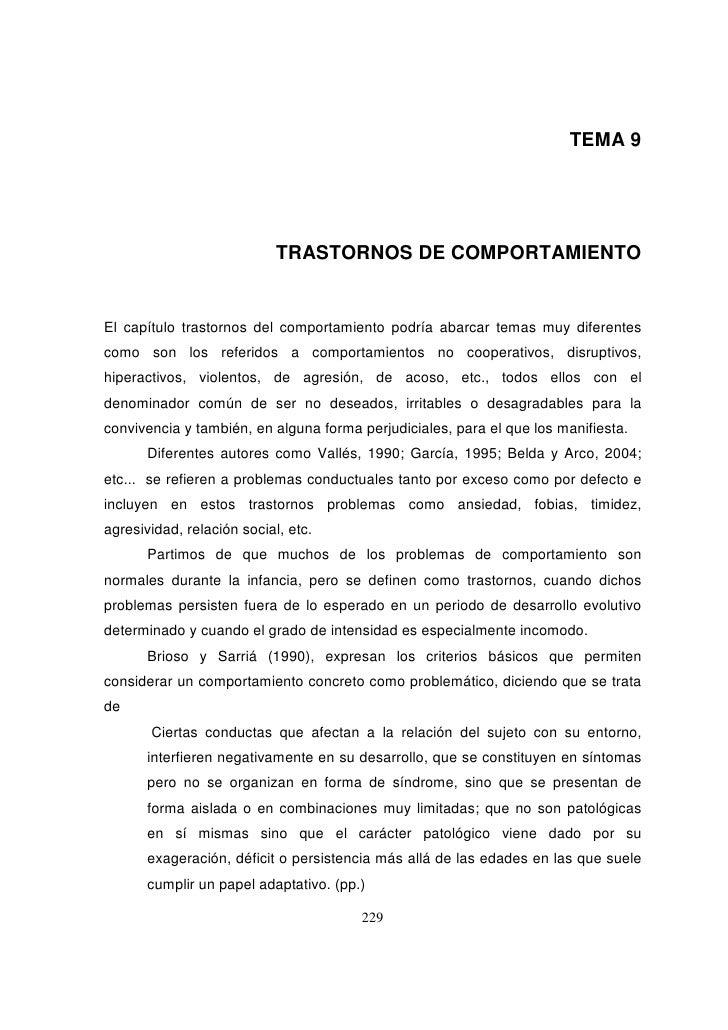 TEMA 9                            TRASTORNOS DE COMPORTAMIENTOEl capítulo trastornos del comportamiento podría abarcar tem...