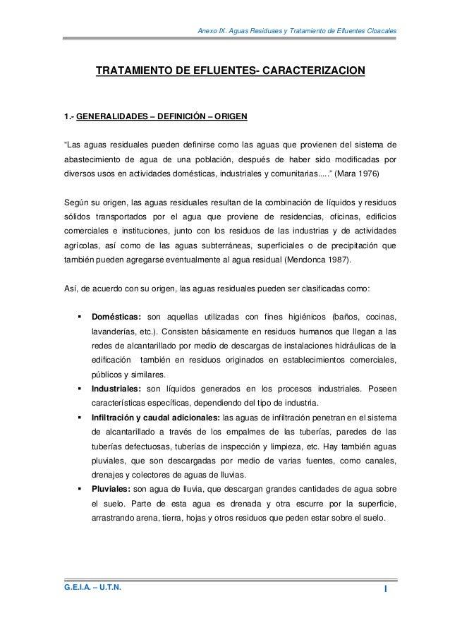 Anexo IX. Aguas Residuaes y Tratamiento de Efluentes Cloacales         TRATAMIENTO DE EFLUENTES- CARACTERIZACION1.- GENERA...