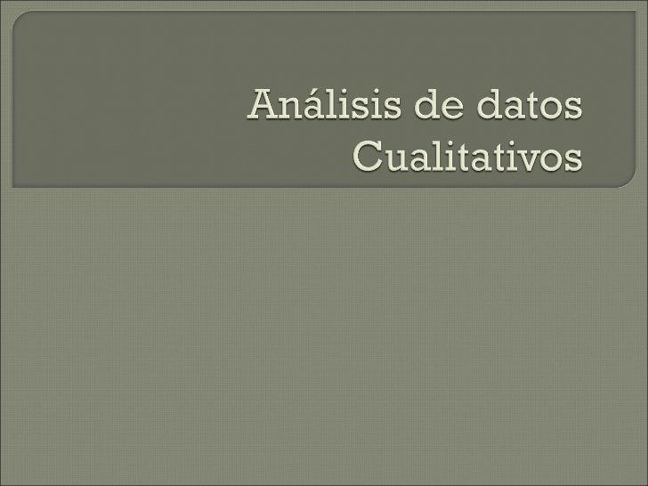 Tema 9 Análisis de datos cualitativos