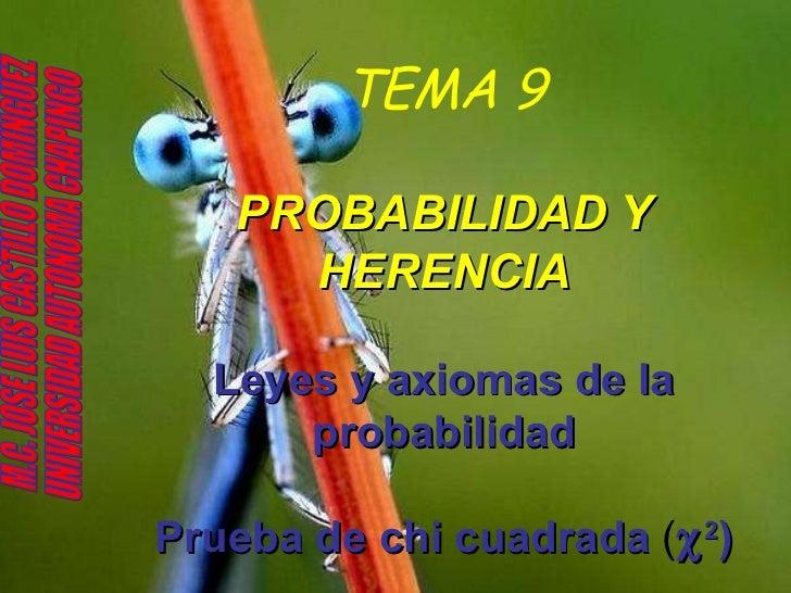 TEMA 9 PROBABILIDAD Y HERENCIA Leyes y axiomas de la probabilidad Prueba de chi cuadrada  (  2 ) M.C. JOSE LUIS CASTILLO ...