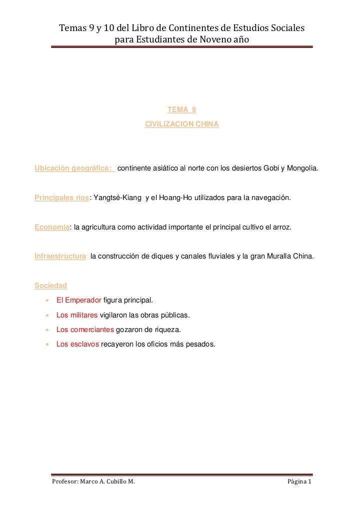 Temas 9 y 10 del Libro de Continentes de Estudios Sociales                     para Estudiantes de Noveno año             ...