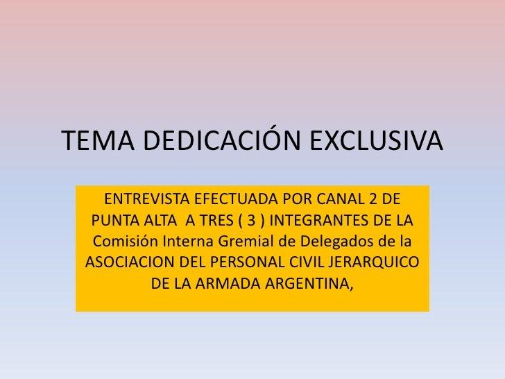 TEMA DEDICACIÓN EXCLUSIVA<br />ENTREVISTA EFECTUADA POR CANAL 2 DE PUNTA ALTA  A TRES ( 3 ) INTEGRANTES DE LA Comisión Int...