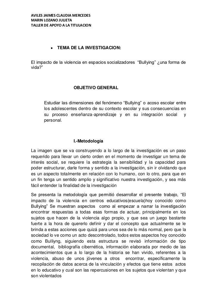 AVILES JAIMES CLAUDIA MERCEDESMARIN LOZANO JULIETATALLER DE APOYO A LA TITULACION             TEMA DE LA INVESTIGACION:El ...