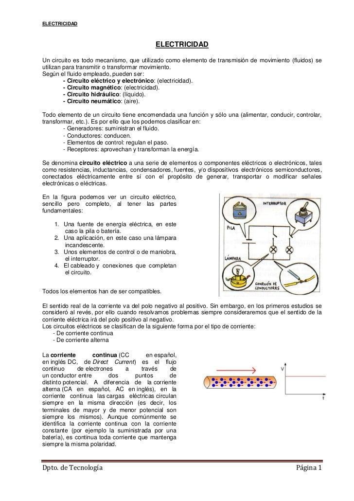 ELECTRICIDAD                                          ELECTRICIDADUn circuito es todo mecanismo, que utilizado como elemen...