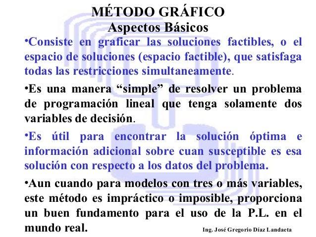 MÉTODO GRÁFICO Aspectos Básicos  •Consiste en graficar las soluciones factibles, o el espacio de soluciones (espacio facti...
