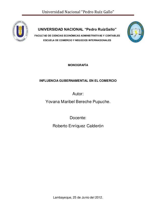 """Universidad Nacional """"Pedro Ruíz Gallo""""  UNIVERSIDAD NACIONAL """"Pedro RuízGallo"""" FACULTAD DE CIENCIAS ECONÓMICAS ADMINISTRA..."""