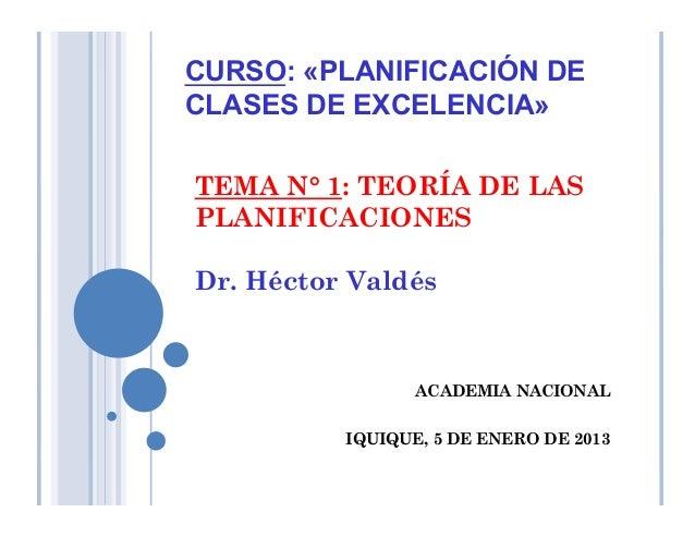 TEMA N° 1: TEORÍA DE LAS PLANIFICACIONES Dr. Héctor Valdés ACADEMIA NACIONAL IQUIQUE, 5 DE ENERO DE 2013 CURSO: «PLANIFICA...