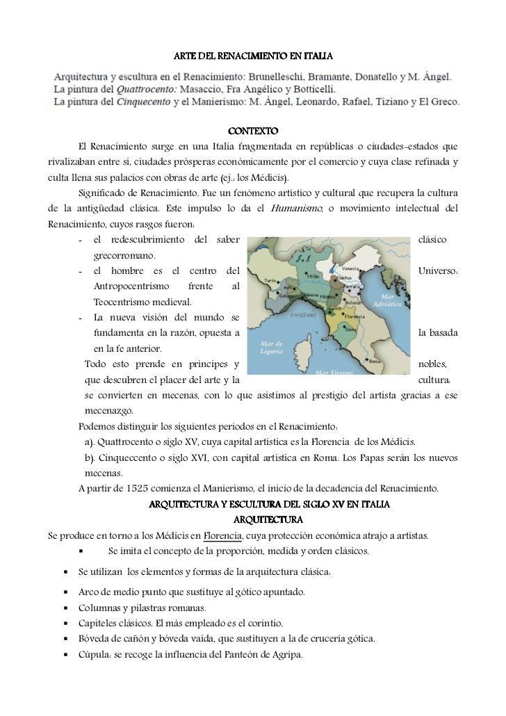 ARTE DEL RENACIMIENTO EN ITALIA                                                CONTEXTO       El Renacimiento surge en una...