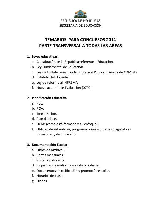 Temario para optar a plaza docentes 2014 contenidos a for Examen para plazas docentes 2017