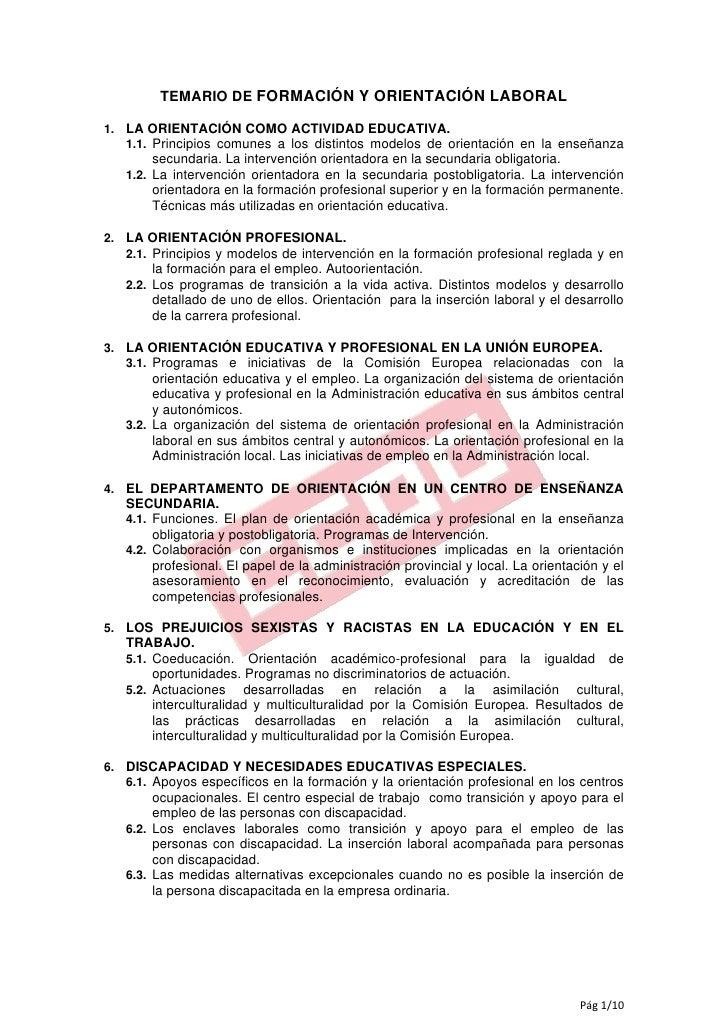 TEMARIO DE FORMACIÓN Y ORIENTACIÓN LABORAL1. LA ORIENTACIÓN COMO ACTIVIDAD EDUCATIVA.   1.1. Principios comunes a los dist...