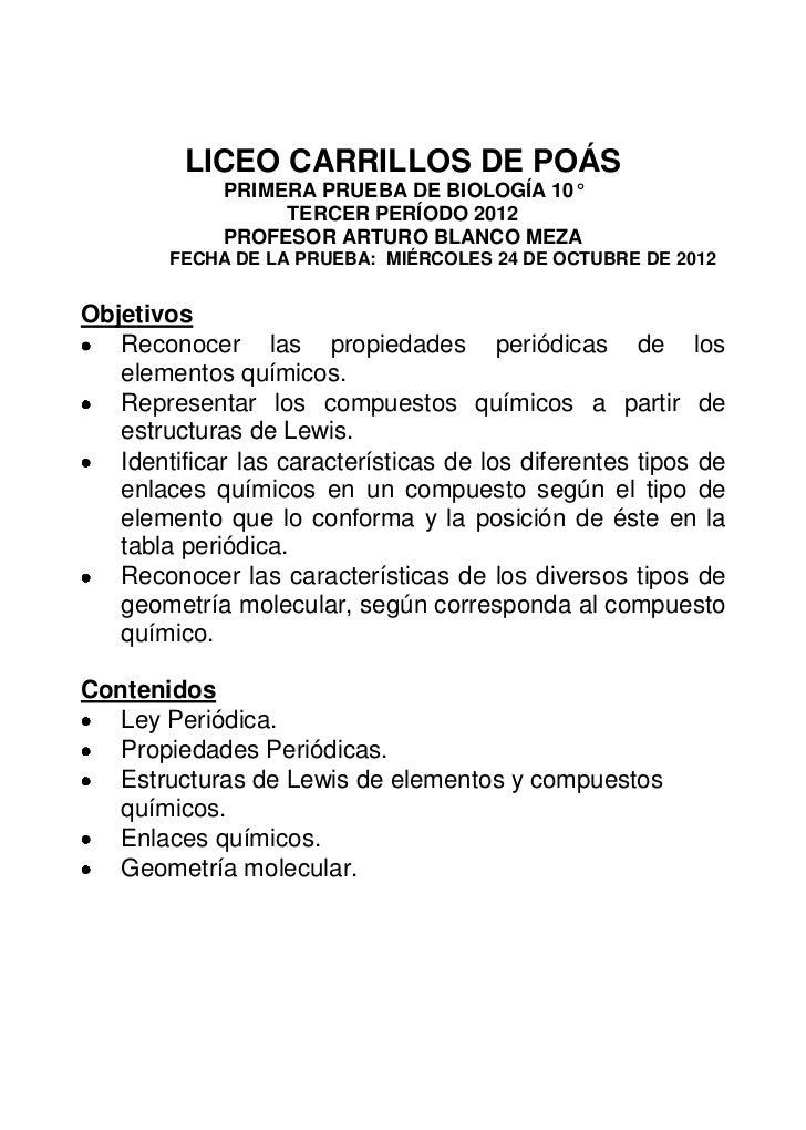 LICEO CARRILLOS DE POÁS             PRIMERA PRUEBA DE BIOLOGÍA 10°                  TERCER PERÍODO 2012             PROFES...