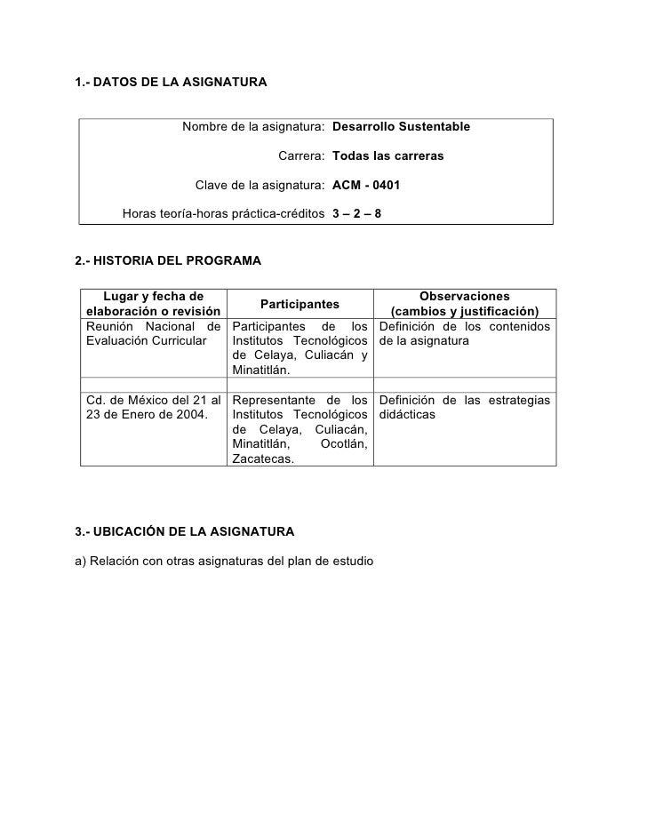 1.- DATOS DE LA ASIGNATURA                      Nombre de la asignatura: Desarrollo Sustentable                           ...