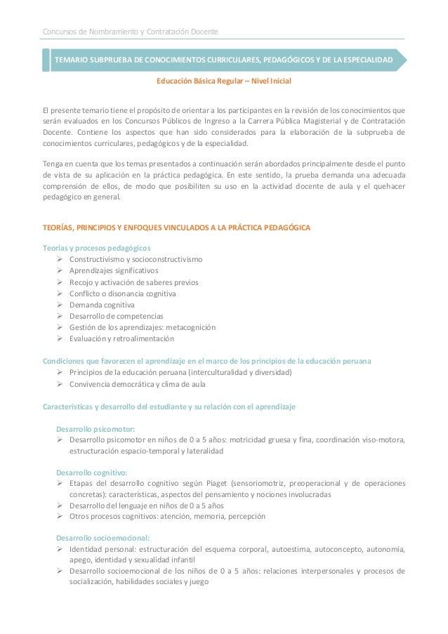 Concursos de Nombramiento y Contratación Docente TEMARIO SUBPRUEBA DE CONOCIMIENTOS CURRICULARES, PEDAGÓGICOS Y DE LA ESPE...