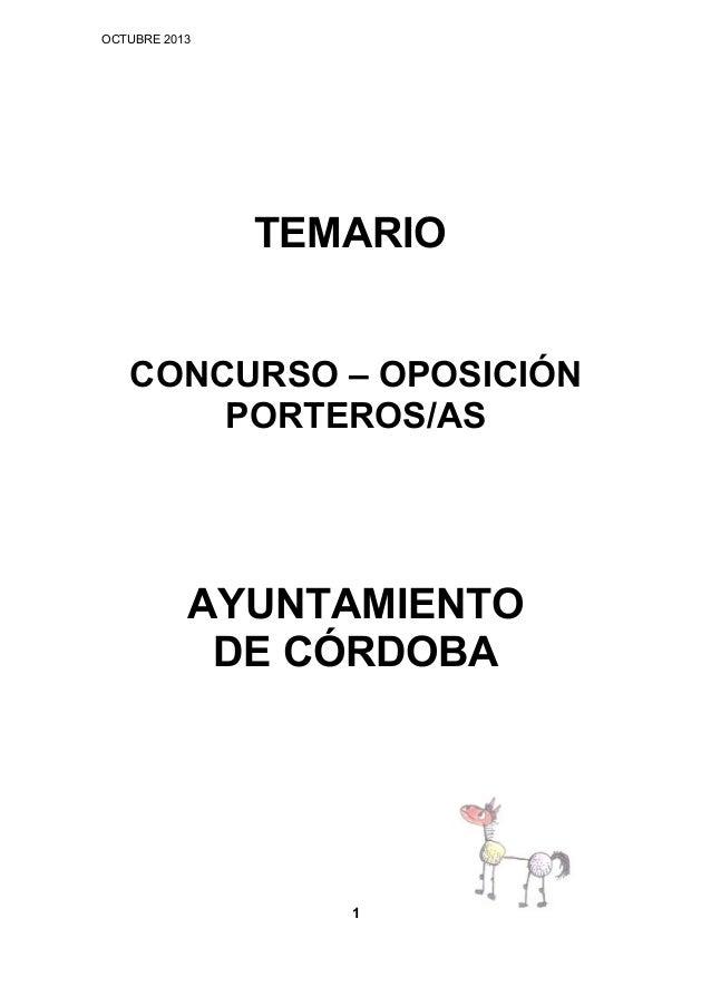 OCTUBRE 2013  TEMARIO CONCURSO – OPOSICIÓN PORTEROS/AS  AYUNTAMIENTO DE CÓRDOBA  1