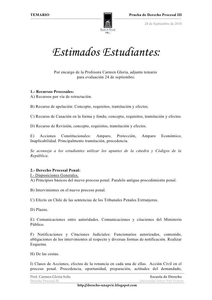 Temario, Derecho Procesal III