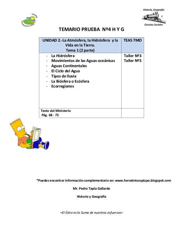 Temario prueba  nº4 h y g 7mo