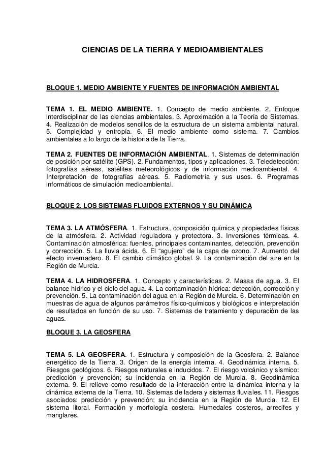 CIENCIAS DE LA TIERRA Y MEDIOAMBIENTALES BLOQUE 1. MEDIO AMBIENTE Y FUENTES DE INFORMACIÓN AMBIENTAL TEMA 1. EL MEDIO AMBI...