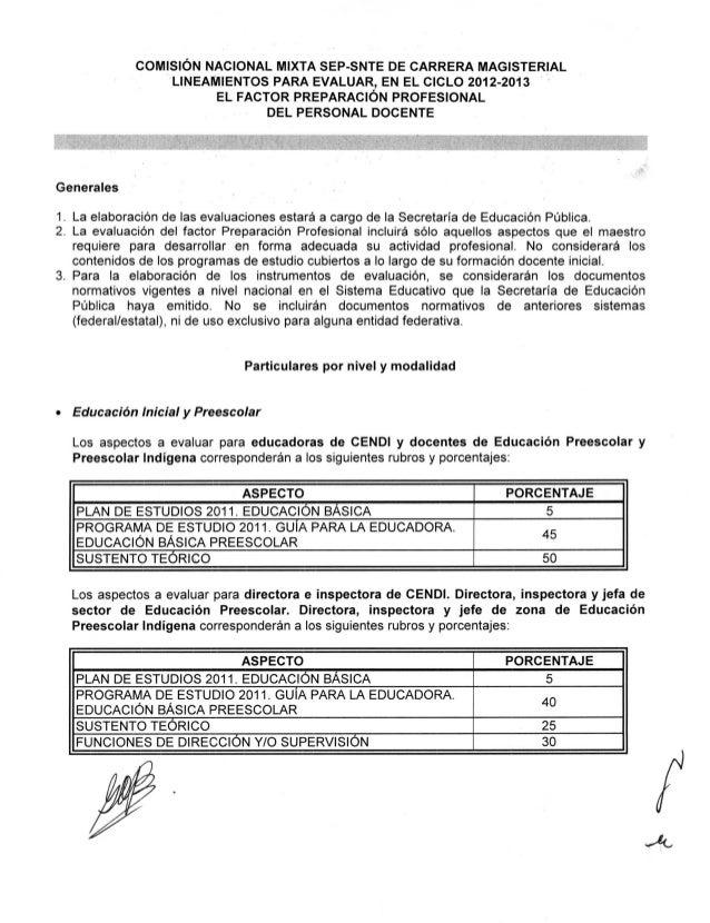 COMISIÓN NACIONAL MIXTA SEP-SNTE DE CARRERA MAGISTERIAL                . LINEAMIENTOS PARA EVALUAR, EN EL CICLO 2012-2013 ...