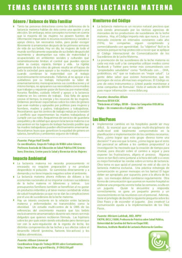 TEMAS CANDENTES SOBRE LACTANCIA MATERNA Género / Balance de Vida Familiar                                    Monitoreo del...