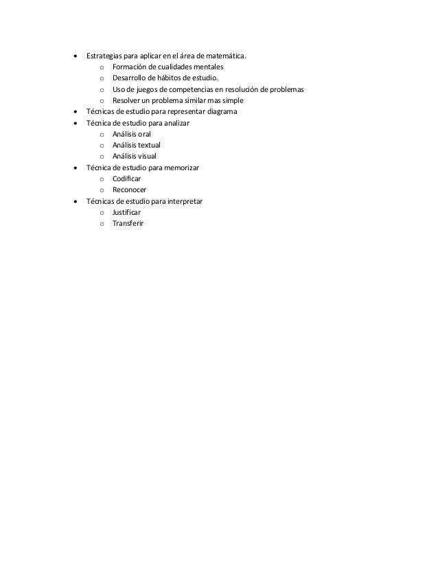    Estrategias para aplicar en el área de matemática.        o Formación de cualidades mentales        o Desarrollo de há...