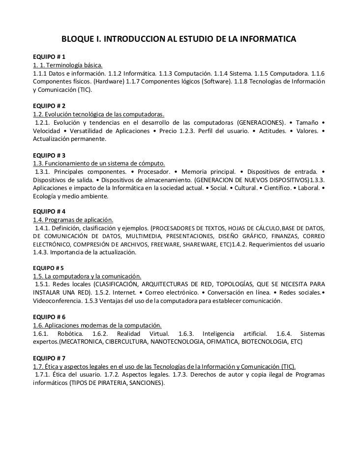 BLOQUE I. INTRODUCCION AL ESTUDIO DE LA INFORMATICA<br />EQUIPO # 1<br />1. 1. Terminología básica. <br />1.1.1 Datos e in...