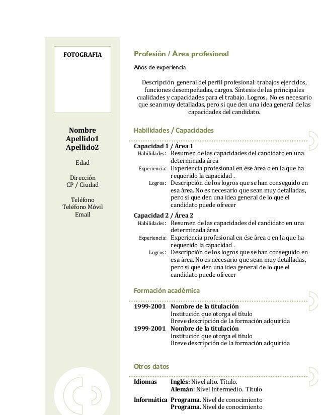 FOTOGRAFIA       Profesión / Área profesional                 Años de experiencia                    Descripción general d...