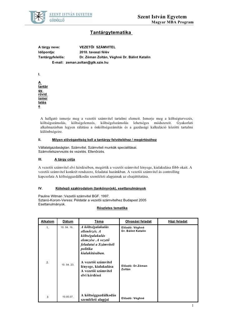 Szent István Egyetem                                                                                Magyar MBA Program    ...