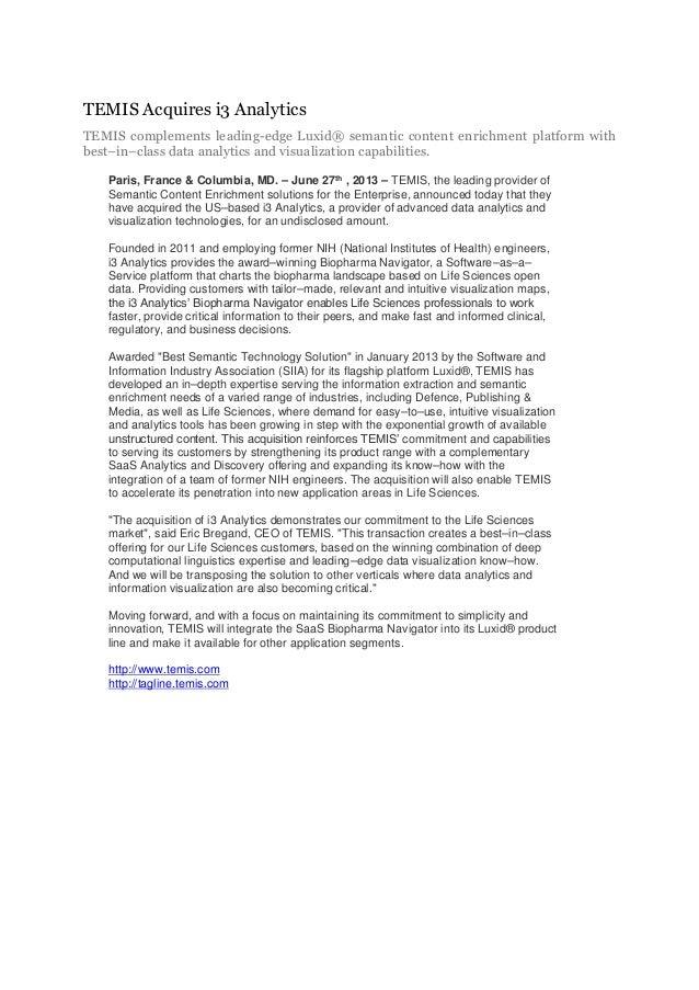 Temis acquires i3 analytics