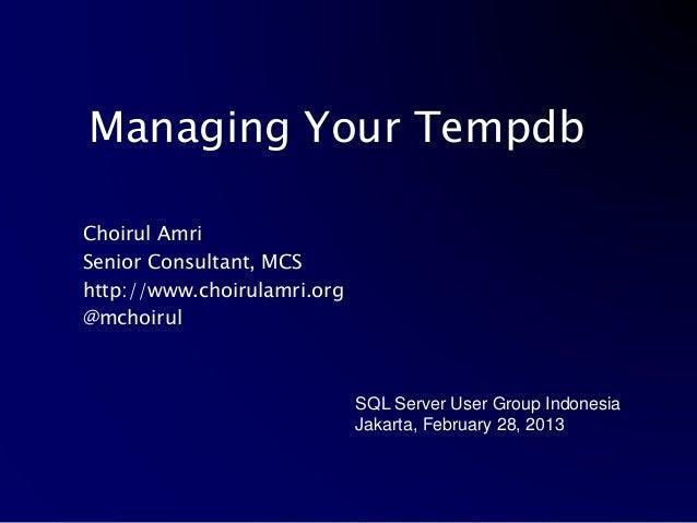 Managing Your TempDb