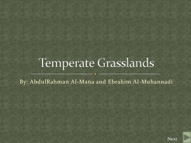 By: AbdulRahman Al-Mana and Ebrahim Al-Muhannadi <br />Temperate Grasslands<br />Next<br />