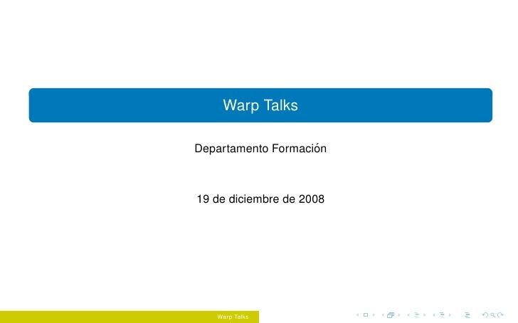 Introducing WarpTalks