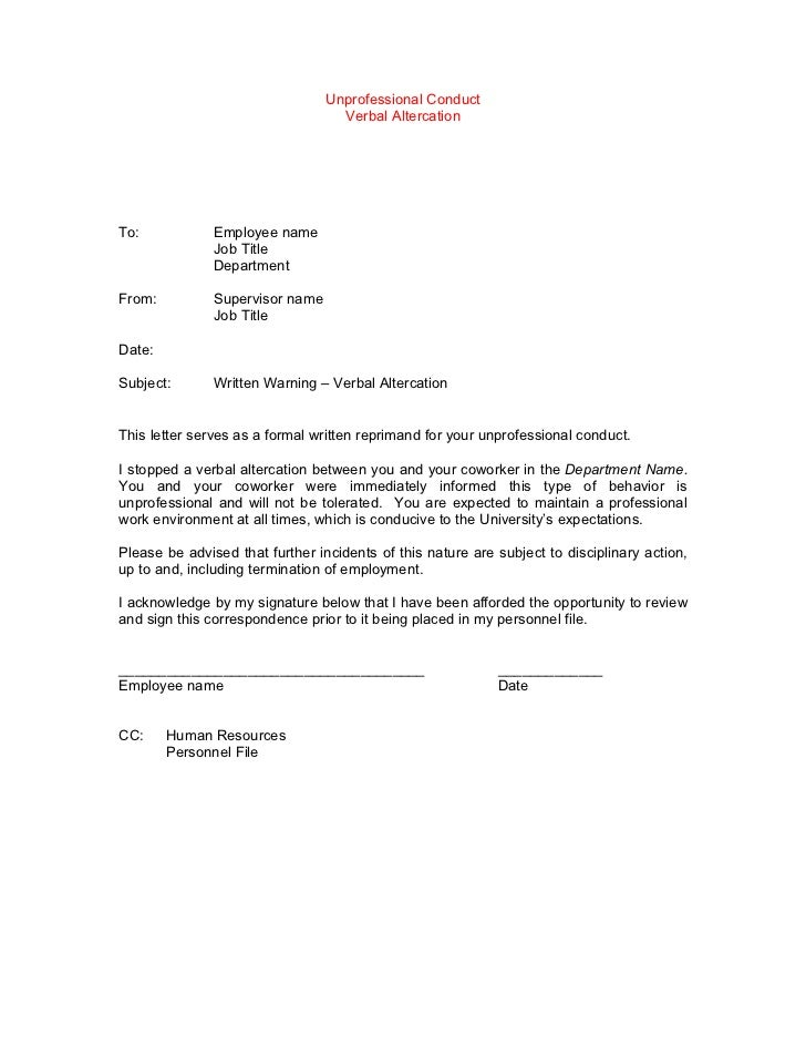 Sample Letter Of Reprimand For Unprofessional Conduct